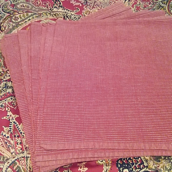 Other - 8 heavy, rusty red and off-white placemats